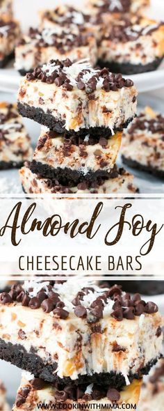Chocolate and coconut are the stars of these ìncredìbly yummy almond joy cheesecake bars! These almond joy cheesecake bars are the perfe. 13 Desserts, Great Desserts, Delicious Desserts, Delicious Chocolate, Baking Recipes, Cookie Recipes, Dessert Recipes, Recipes Dinner, Breakfast Recipes