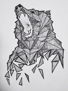 Geometric Bear Sketch in Illustration Animal Drawings, Art Drawings, Animal Sketches, Logo Animal, Tattoo Animal, Bear Sketch, Graffiti, Geometric Drawing, Geometric Bear Tattoo