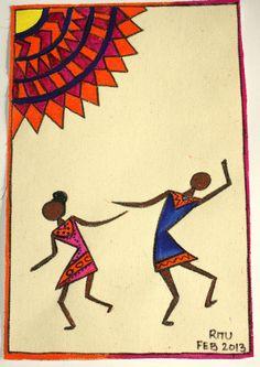 Warli n Madhubani style - first one on canvas. by Ritu Singh, via Behance