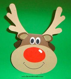 Biglietto di auguri per il Natale a forma di renna. Volendo potete mettere della porporina rossa sul naso di rudolph. BIGLIETTI DI NATALE Materiale: carton