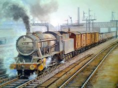 A WD steam loco with a heavy coal train in Painting by D Townend Transport Pictures, Train Drawing, Steam Art, Nostalgic Art, Steam Railway, Train Art, Railway Posters, British Rail, Train Pictures