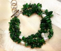 Multistrand Russian Diopside Bracelet W/FW by NorthCoastCottage