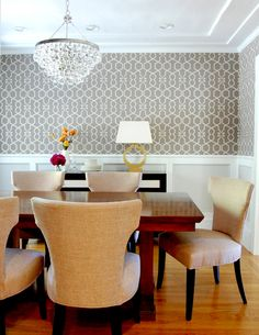 two tone wainscot + geometric wallpaper