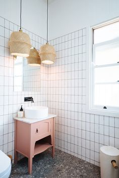 Bring life to a minimalistic bathroom with these DIY pendant lights made from IKEA baskets! An easy-to- do IKEA hack fit for any home. Bathroom Hacks, Diy Bathroom Decor, Bathroom Furniture, Small Bathroom, Diy Home Decor, Modern Furniture, Rustic Furniture, Antique Furniture, Shower Bathroom