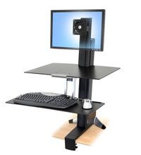 WorkFit-S, Sit-Stand Workstation for Single LCD Monitor, LD, with Worksurface and Large Keyboard Tray, SINGLE