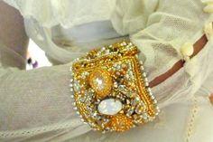 wedding jewelry  white & Gold bracelet  by beadsofaquarius on Etsy, $210.00