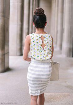 60 Chic Ways To Dress Feminine On Summer Lemon Print Top + Stripe Pencil Skirt Super Petite, Extra Petite, Blue Midi Dress, White Maxi Dresses, Work Fashion, Fashion Outfits, Women's Fashion, Feminine Dress, Feminine Style