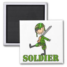Soldier Stick Figure Refrigerator Magnets