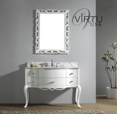 """Virtu USA GS-6148 Charlotte 47-3/10"""" Bathroom Vanity Cabinet - Includes Countertop, One Sink and Mirror"""