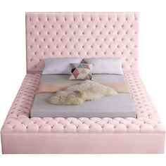 Meridian Furniture Bliss Pink Pink velvet tufted full bed w/ storage Extend elegance to the bedroom Velvet Upholstered Bed, Velvet Bed, Upholstered Platform Bed, Pink Velvet, Queen Platform Bed, Tuffed Bed, Tufted Bed Frame, Sofa Bed Size, Sofa Bed Mattress