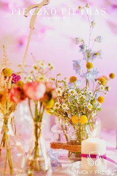 2. Electrical Wedding,Rustic,Centerpieces,Field flowers / Elektryczne wesele,Rustykalne,Polne kwiaty,Anioły Przyjęć