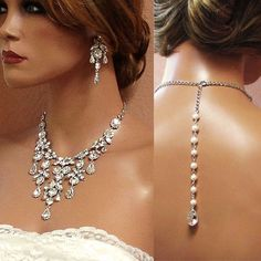 HANDMADE Bridal pearl crystal back drop statement necklace earrings jewelry set #Handmade #Statement