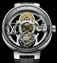 Louis Vuitton released an updated case design called the Tambour Moon and here is their flagship timepiece. The Tambour Moon Flying Tourbillon 'Poinçon De Genève' which you can personalize with your own monogram at 9 o'clock instead of the giant LV.