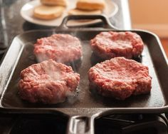 "How To Make the Best Burgers on the Stovetop | The Kitchn: a great guide for cooking hamburgers on the stovetop! The temperature ranges are close to spot on, I cooked the burger for 4 mins each side and it was just slightly more than medium, which was perfect for my husband and the ""dimpling"" technique worked, the burger did not shrink! Used 12/12/15"