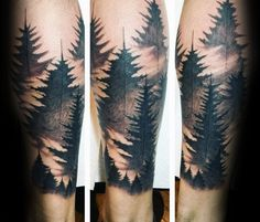 Watercolor Guys Forest Leg Sleeve Tattoo Designs