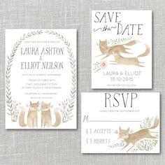 Foxes Wedding Invitation Suite