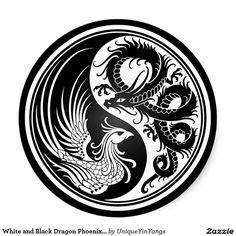 White and Black Dragon Phoenix Yin Yang Round Sticker