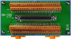 DN-100: I/O Connector Block (Pitch= 381 mm) with DIN-Rail Mounting and 100-pin SCSI II female connector. More info: http://www.icpdas-usa.com/dn_100.html?r=pinterest
