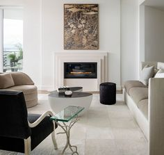 Modern White Living Area w/ Fireplace Luxe Interiors, Condo Living, Interior, Fireplace Design, Condo Design, Home Decor, House Interior, White Interior, Interior Design