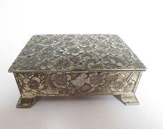 Vintage Metal Flower Trinket Jewellery Box