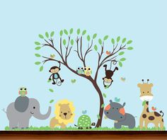 Baby Nursery Bright Jungle Safari Leaf Tree and Animals Set - Vinyl Wall Art Decal by WhimsyWallArt on Etsy https://www.etsy.com/listing/89656516/baby-nursery-bright-jungle-safari-leaf