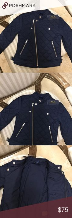 POLO by Ralph Lauren ❤️SALE❤️Moto Jacket Chic and classy moto jacket from polo by Ralph Lauren. Girl size 6. Fitted. Quilted blue. Golden hardware. New!! Tag attached!! Polo by Ralph Lauren Jackets & Coats Blazers