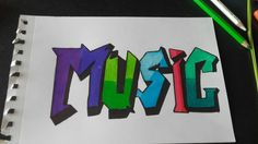 Rysunek graffiti MUSIC