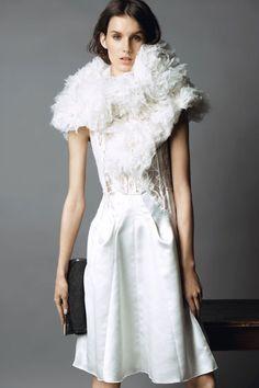 Nina Ricci Pre-Fall 2013 White High Neck Dress - The Best Looks of Pre-Fall 2013 - Harper's BAZAAR