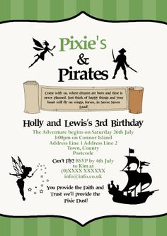 Pixies and Pirates joint Birthday Invitation designed by me at Nic's Designs.