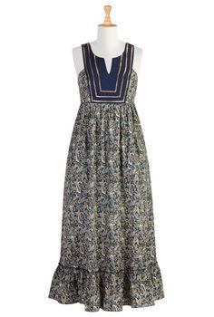 #eShakti, #Sequins, Paisley Print, Dresses, Maxi Dress, Tunic Style, Printed Dresses