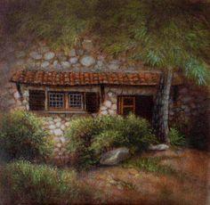 plein air painting, Umbria, a friend's house. 20 x 20 cm 2015 Patricia Glee Smith