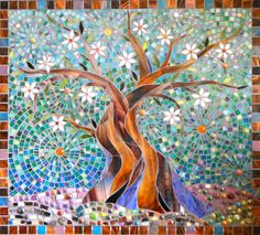 Square Blue Tree of Life Card  - Mosaic Art - Mosaic Tree of Life
