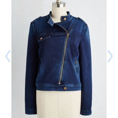 """Modcloth denim moto jacket size S Only worn once, like new. Very stretchy and comfortable. 21"""" long, sleeves are 24.5"""" long. I'm 5'6"""" 130 lb and it fits me great, would fit a slightly bigger or smaller girl too. No trades but I do take offers. ModCloth Jackets & Coats Jean Jackets"""
