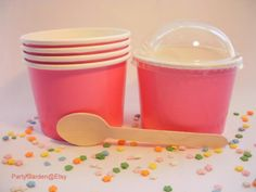 12 Hot Pink Ice Cream Cups - Medium with DIY Labels on Etsy, $5.00