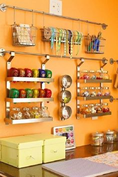 Use IKEA Grundtal to Organize your Crafts - Top 58 Most Creative Home-Organizing Ideas and DIY Projects Space Crafts, Home Crafts, Craft Space, Diy Crafts, Sewing Crafts, Ideas Prácticas, Room Ideas, Decor Ideas, Ideas Para Organizar