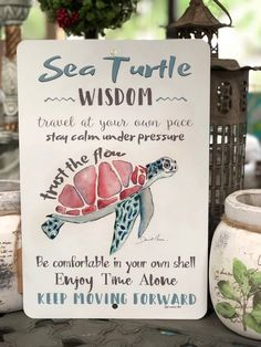 Sea Turtle - Metal Sign - Sea Turtle Wisdom Sign - Beach Decor - Home Decor - Inspirational Sign - Metal Wall Decor - Sea Turtle Metal Sign Sea Turtle Wisdom Sign Beach Decor Great Quotes, Quotes To Live By, Me Quotes, Beach Quotes, Daily Quotes, Turtle Quotes, Paz Interior, Inspirational Signs, Metal Signs