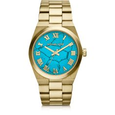 Michael Kors Designer Women's Watches Mid-Size Channing Golden... ($175) ❤ liked on Polyvore featuring jewelry, watches, accessories, bracelets, bijoux, gold, women's watches, golden jewelry, golden watches and roman numeral watches