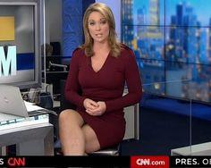 Women news anchor shows sexy legs