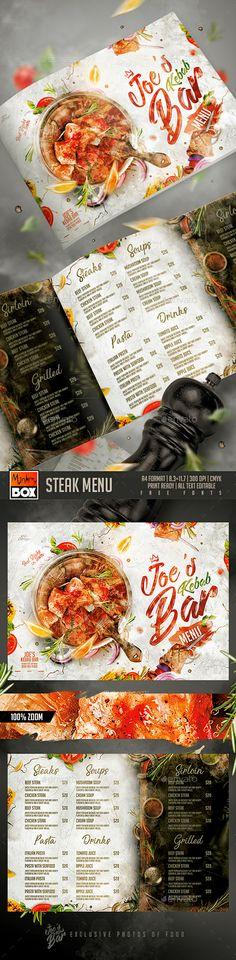 Steak Menu Design Template PSD