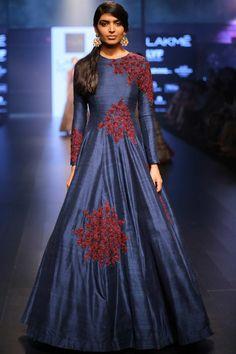 Midnight blue raw silk gown with burgundy butti work