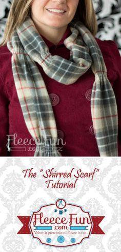 You can make an elegant fleece scarf in minutes. Easy Fleece shirred scarf DIY.