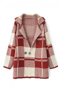 Buy Knitted Red Check Coat from abaday.com, FREE shipping Worldwide - Fashion Clothing, Latest Street Fashion At Abaday.com
