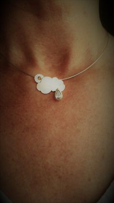 Sun and Raincloud Necklace by LeahLowney on Etsy Collar Bone, Rain Drops, Best Gifts, Sun, Gemstones, Sterling Silver, Chain, Pendant, Etsy