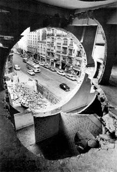 Gordon Matta-Clark  Conical Intersect (detail)  1975 | 27-29, rue Beaubourg, Paris | courtesy of David Zwirner, NY and the Estate of Gordon Matta-Clark #black_and_white #photography #paris