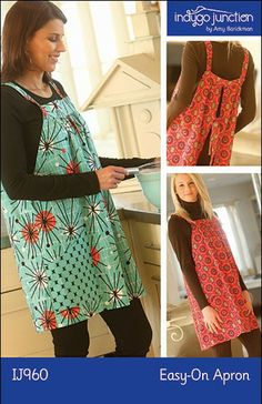 Easy-On Apron sewing pattern – IJ960 - is a classic simple shape that can be made as great kitchen wear, a fun topper for leggings or jeans, or even a swim cover-up!  Choose cotton or corduroy in a fun print to put some whimsy in your wardrobe. Easy to make & easy to wear with back ties & large pockets.  One size fits most. From IndygoJunction.com
