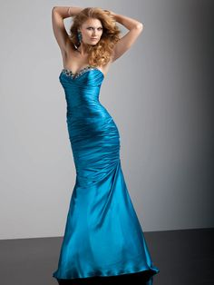 Trumpet/Mermaid Sweetheart Elastic Woven Satin Floor-length Beading Evening Dresses at pickedlooks.com