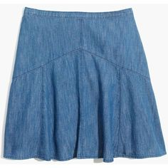 MADEWELL Denim Piazza Skirt ($70) ❤ liked on Polyvore featuring skirts, mini skirts, suzie wash, long skirts, short denim skirts, denim skirt, blue mini skirt and vintage full skirt