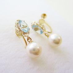 K10YG aquamarine pearl earrings #tocca #japan