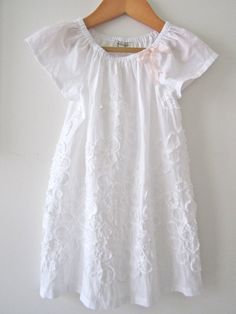 Baby Girls Crisp White Baptism Dress-cotton ruffles-infant toddler-christening-special occasion-Handmade Children Clothing by Chasing Mini