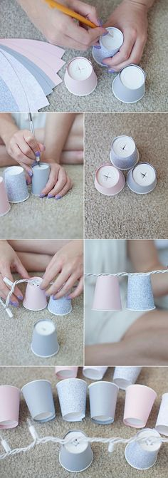 DIY, Dixie cup, hanging lights!